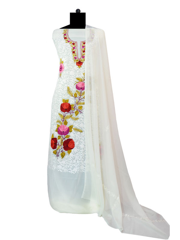 Off White Kashmiri Aari Work Pure Georgette Suit With Dupatta