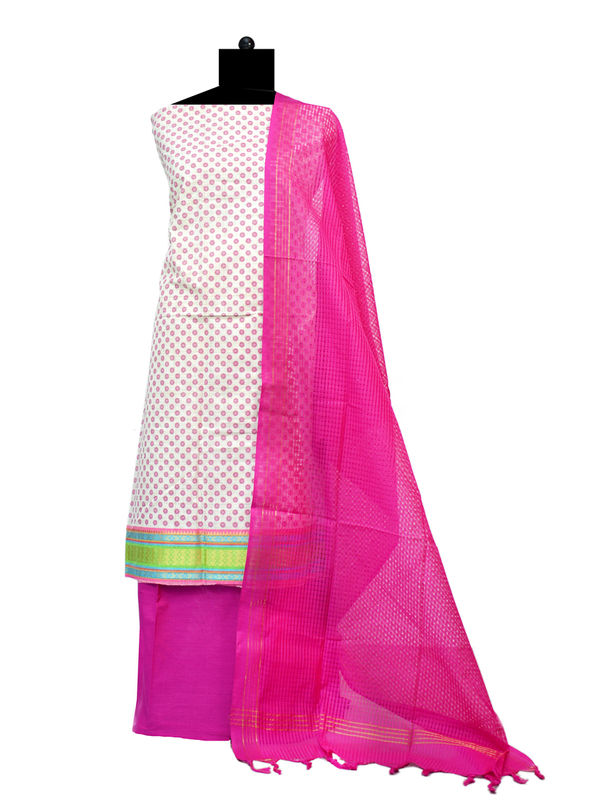 Off White Magenta South Cotton Printed Suit With Cotton Dupatta