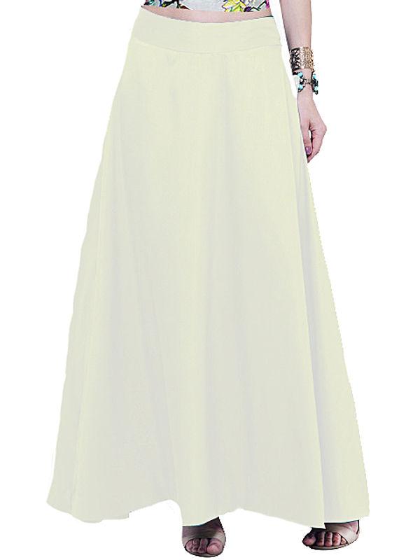Off White Silk Long Skirt