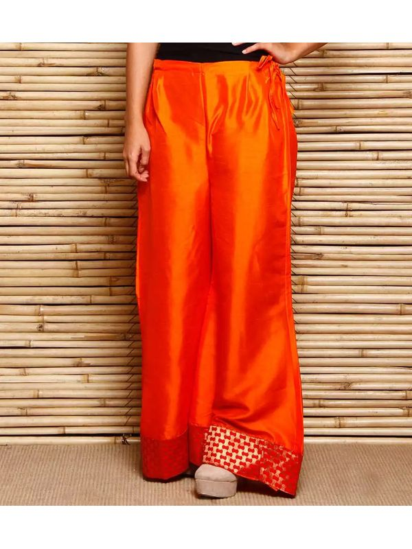 Orange & Red Zari Woven Art Silk Palazzo