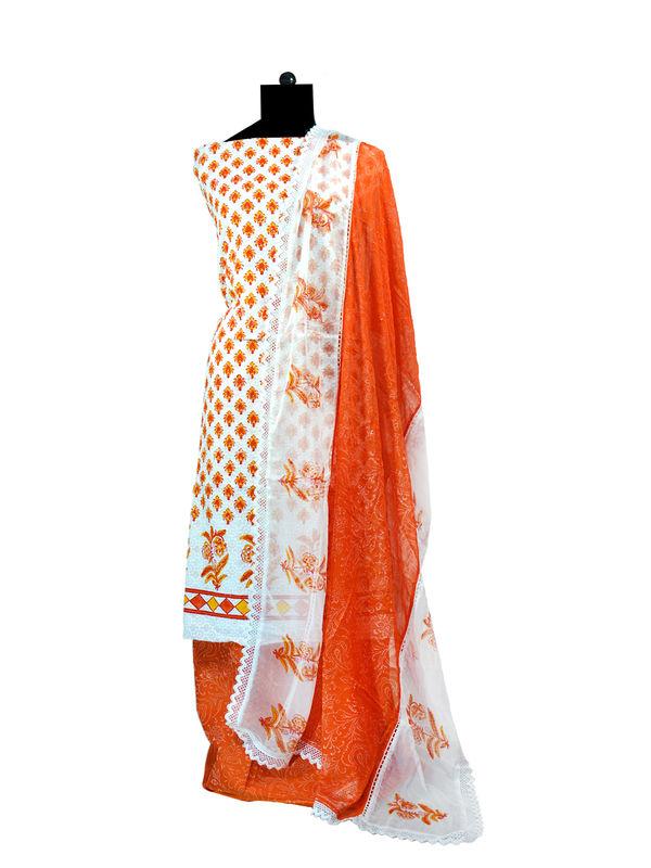 Orange & White Chikankari Cotton Suit With Pure Chiffon Dupatta