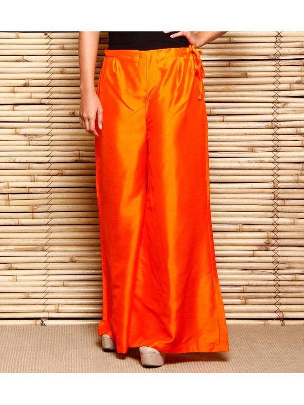 Orange Art Silk Palazzo