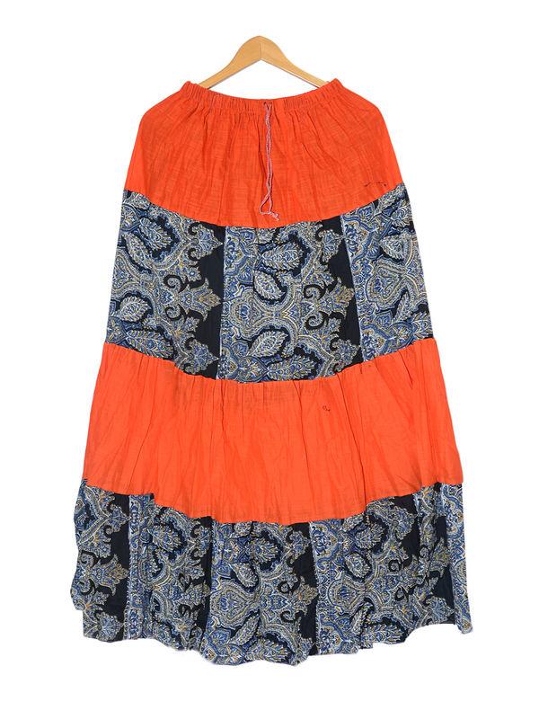 Orange Black Printed Cotton Long Skirt