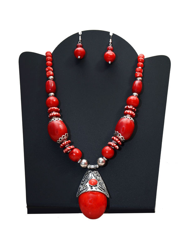 Orange Stone Handcrafted Tribal Necklace With Earrings