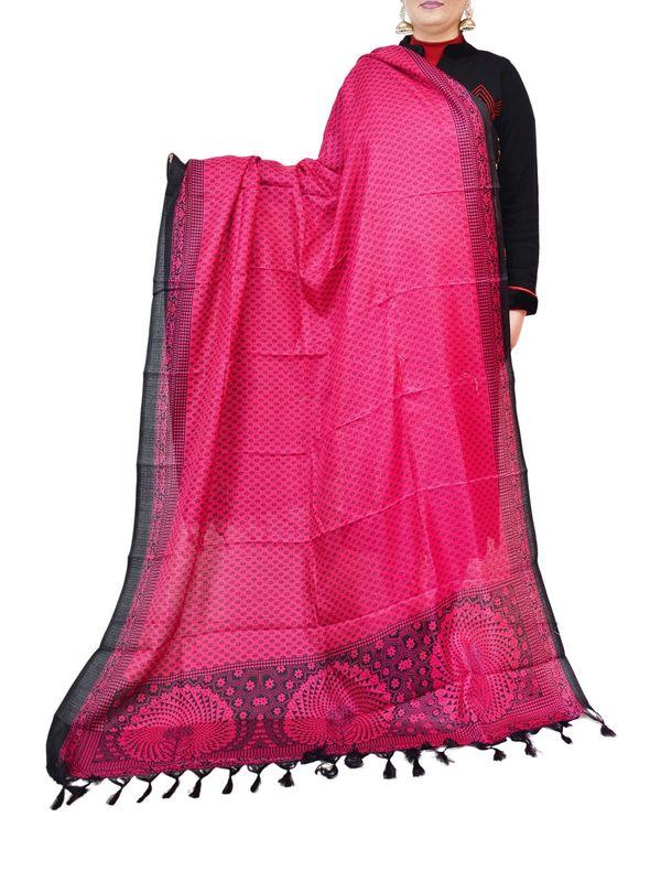 Bhagalpuri Pink Art Silk  Dupatta