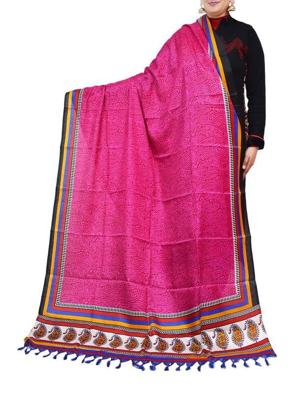 Bhagalpuri Art Silk Pink Dupatta
