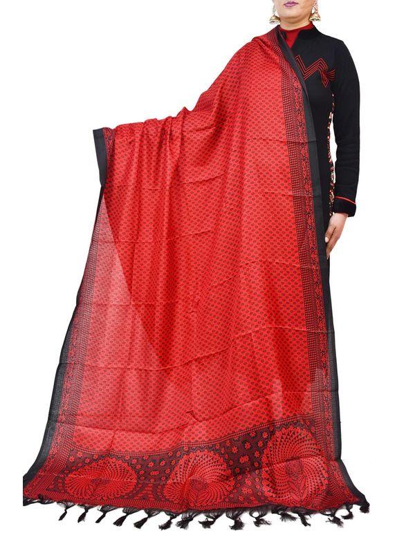 Bhagalpuri Art Silk Red Dupatta