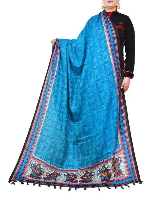 Bhagalpuri Art Silk Sky Blue Dupatta