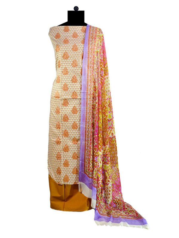 Pakistani Pure Cotton Brown Lawn Suit With Karachi Embroidery
