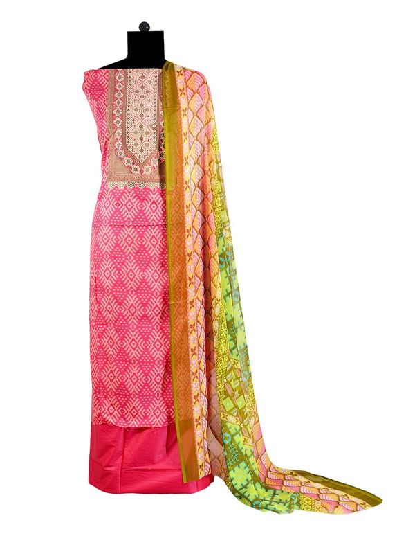 Pakistani Pure Cotton Pink Lawn Suit With Karachi Embroidery