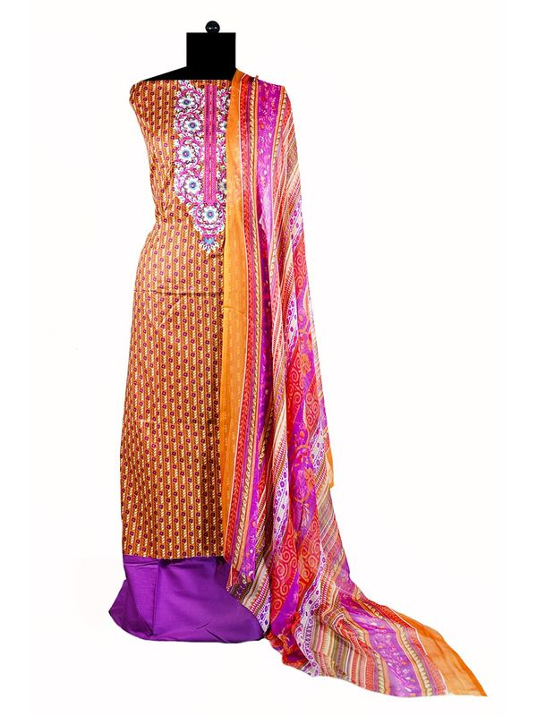 Pakistani Pure Cotton Mustrad Purple Lawn Suit With Karachi Embroidery