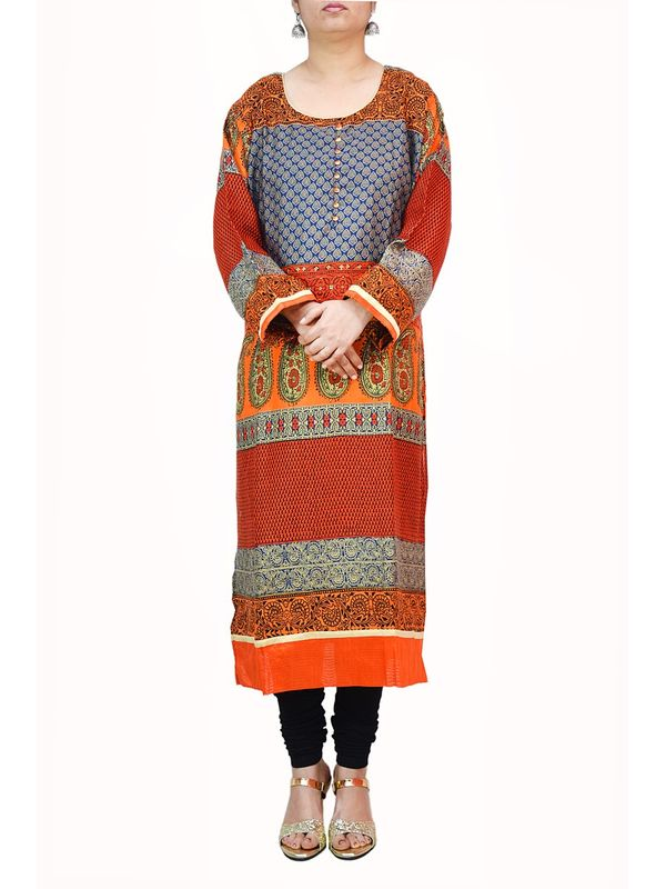 Orange Maroon Printed Cotton Kurti