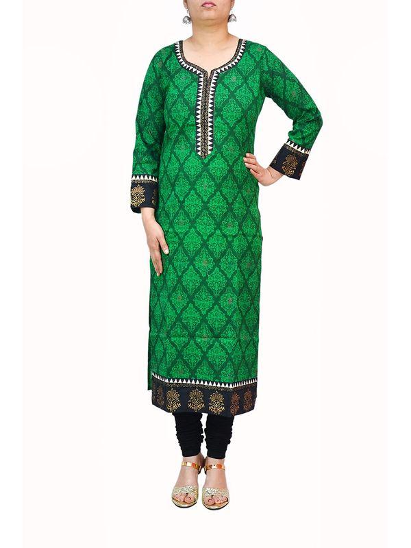 Dark Green Designer Cotton Kurti With Khadi Work