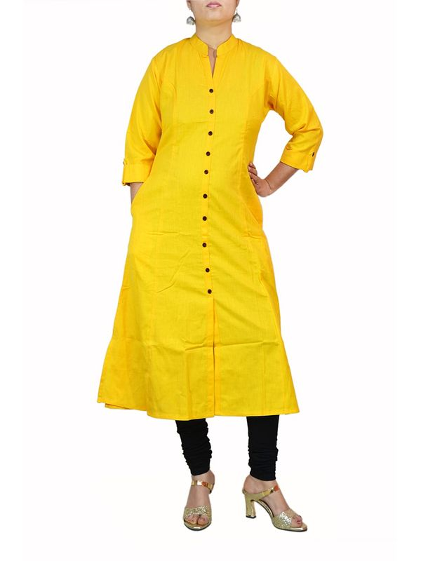 Yellow A-line Cotton Kurti