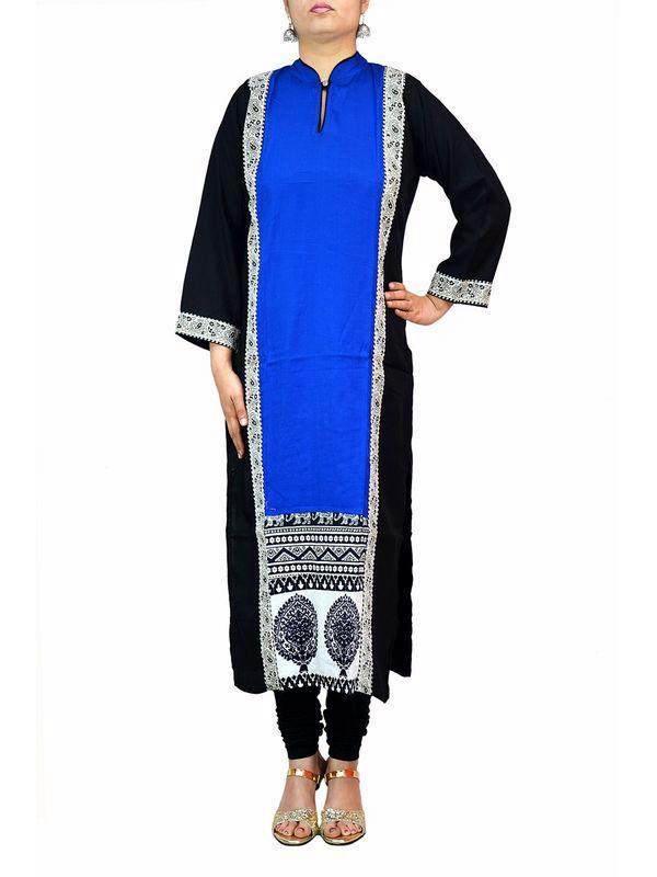 Royal Blue And Black Designer Kurti