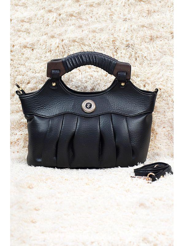 Elegance Black Handbag With Wooden Panel