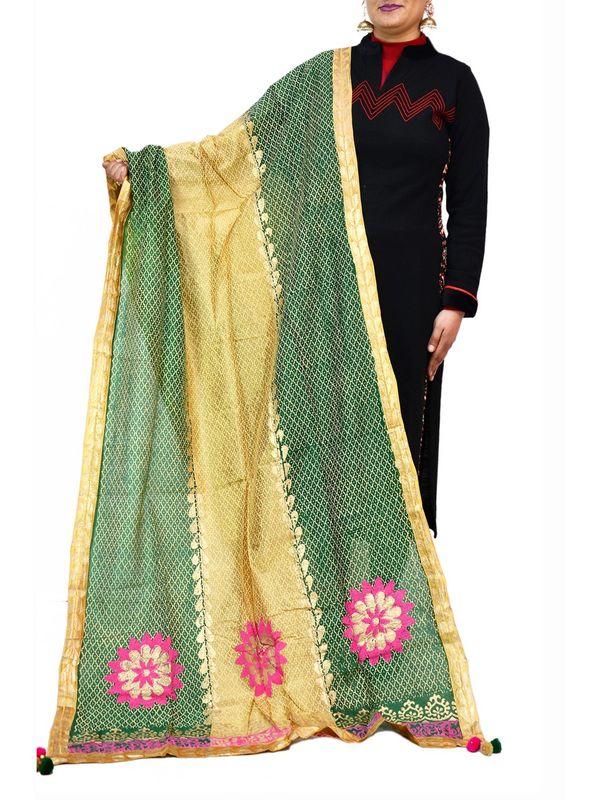 Handpainted Beige & Green Silk Dupatta