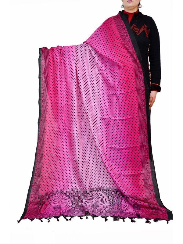Bhagalpuri Pink Silk  Dupatta
