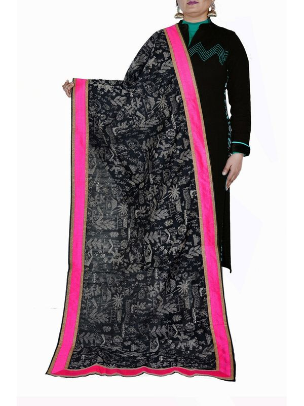 Black Khad Tribal Print Silk Dupatta