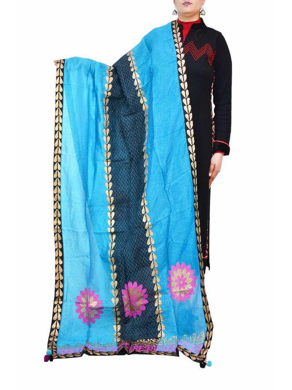 Blue Black Hand Painted Silk Formal Dupatta