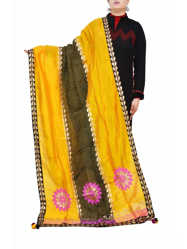 Yellow Black Hand Painted Silk Formal Dupatta