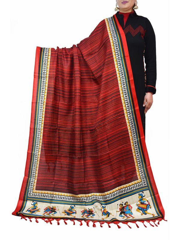 Bhagalpuri Silk Artistic Maroon Dupatta