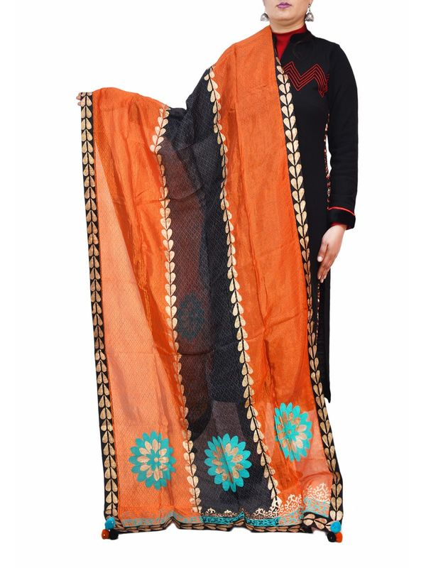 Orange Black Hand Painted Silk Formal Dupatta