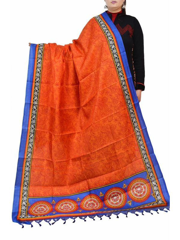 Bhagalpuri Art Silk Orange Blue Dupatta