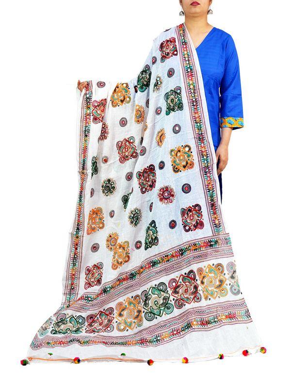 Cotton Kutch  Work White Dupatta