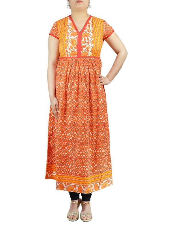 Orange & Yellow Aline Cotton Kurti