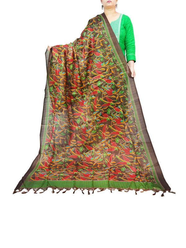 BHAGALPURI SILK DARK GREEN PRINTED DUPATTA