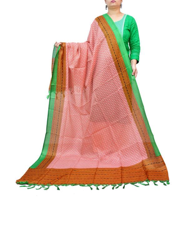 BHAGALPURI SILK GREEN BROWN PRINTED DUPATTA