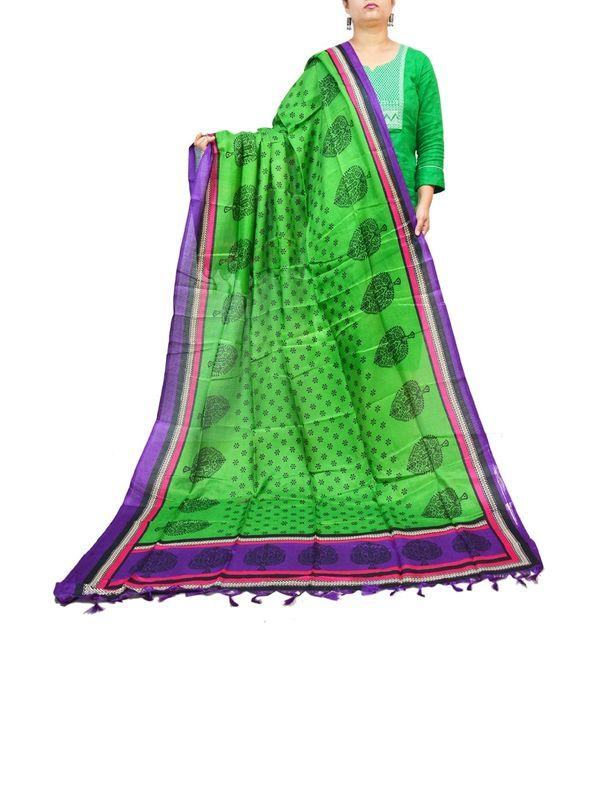 BHAGALPURI SILK GREEN PURPLE LEAF PRINTED DUPATTA