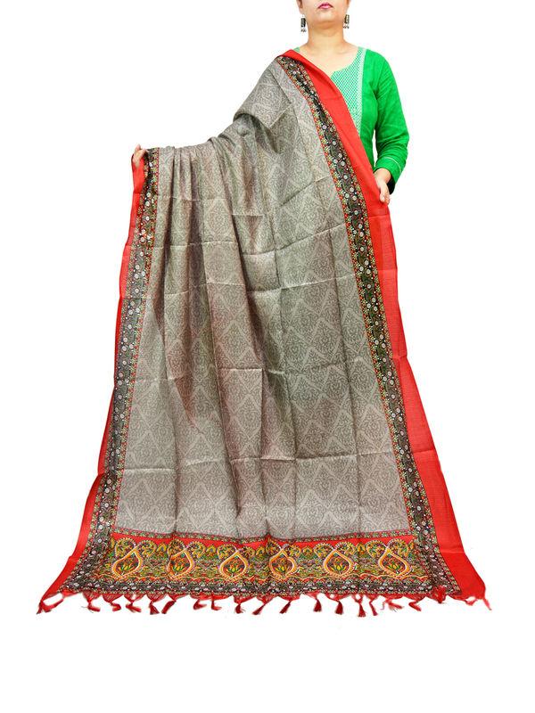 BHAGALPURI SILK GREY PRINTED DUPATTA