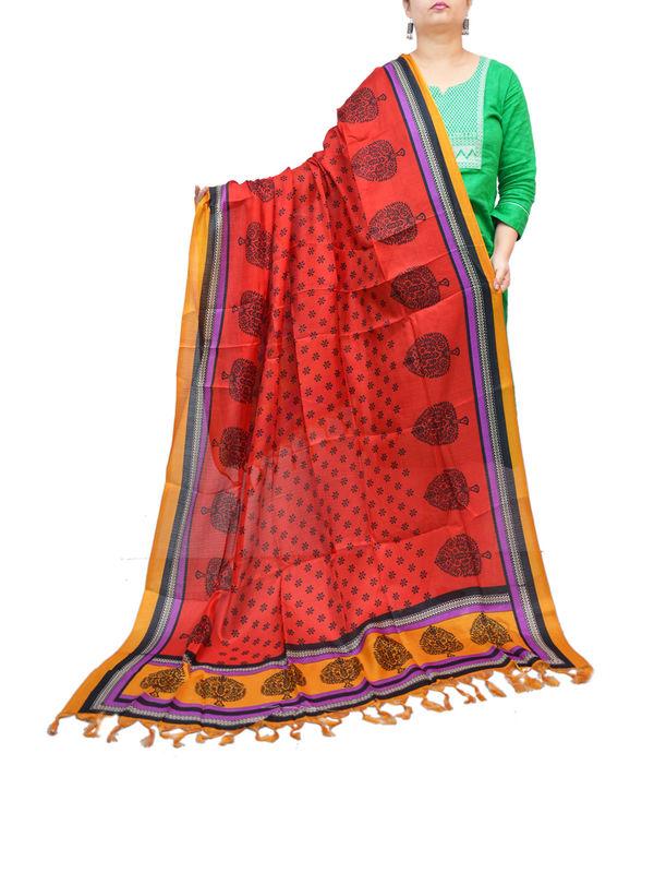 BHAGALPURI SILK RED LEAF PRINTED DUPATTA