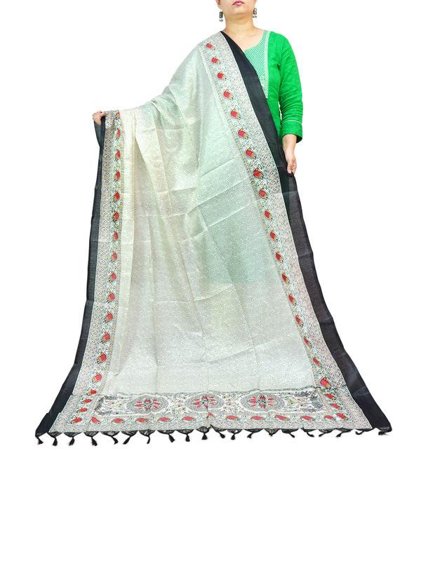 BHAGALPURI SILK WHITE PRINTED DUPATTA