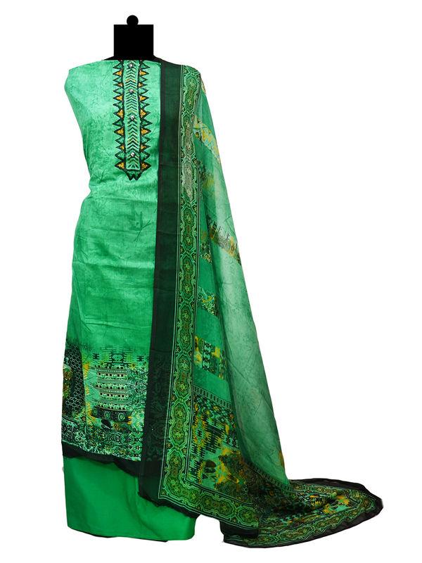 Pakistani Pure Lawn Cotton Green Black Suit