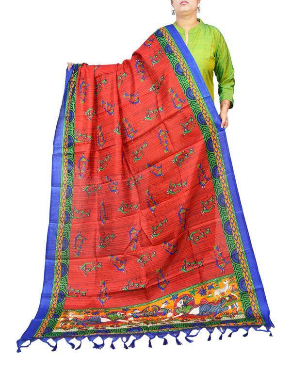 Bhagalpuri Silk Maroon Blue Tribal Print Dupatta