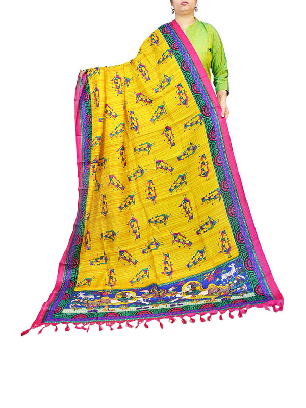 Bhagalpuri Yellow Blue Tribal Printed Dupatta