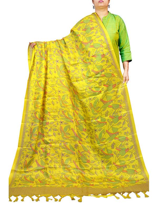 Bhagalpuri Yellow Printed Dupatta