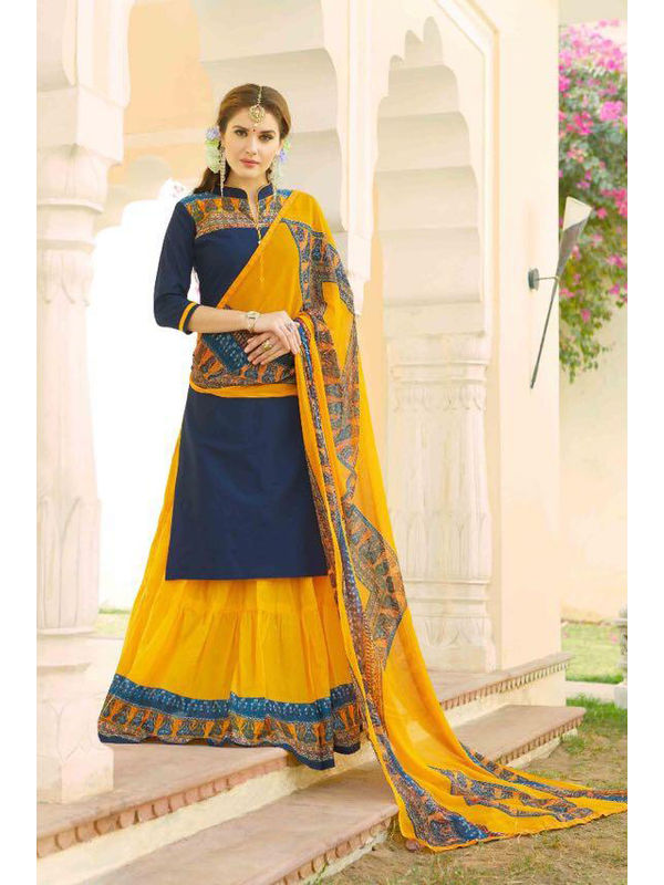 Unstsiched Pure Jam Cotton Blue Yellow Suit With Heavy Cotton Skirt