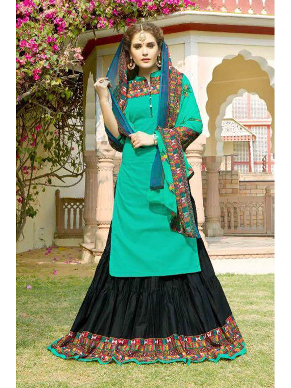 Unstsiched Pure Jam Cotton Green Black Suit With Heavy Cotton Skirt