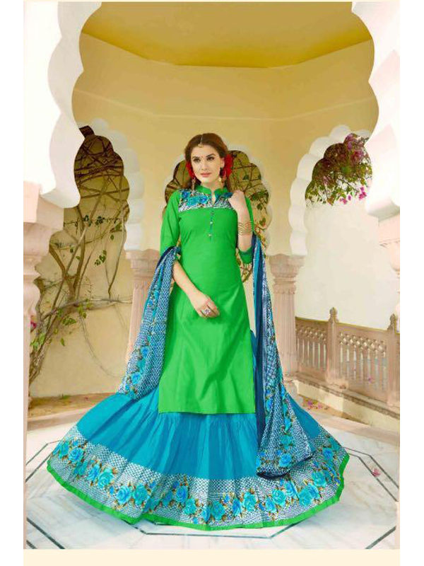 Unstsiched Pure Jam Cotton Green Blue Suit With Heavy Cotton Skirt
