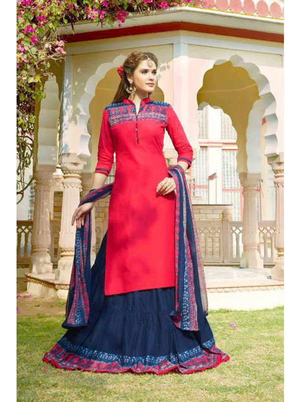 Unstsiched Pure Jam Cotton Magenta Blue Suit With Heavy Cotton Skirt