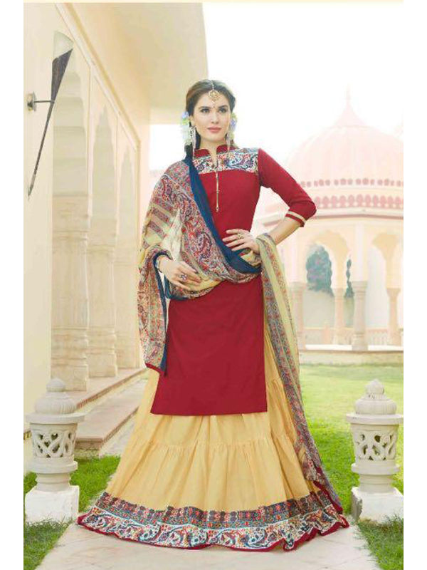 Unstsiched Pure Jam Cotton Maroon Beige Suit With Heavy Cotton Skirt