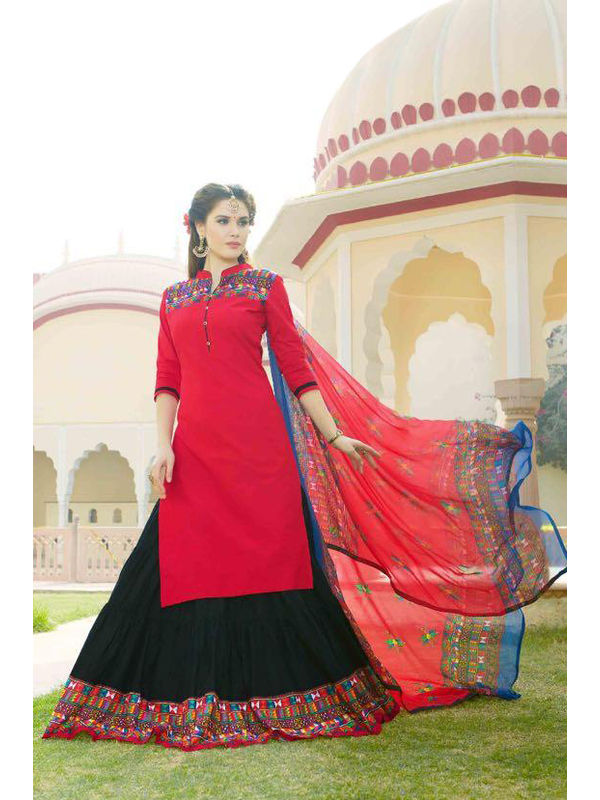 Unstsiched Pure Jam Cotton Red Black Suit With Heavy Cotton Skirt
