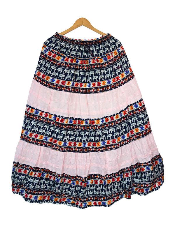 Pink Black Printed Cotton Long Skirt