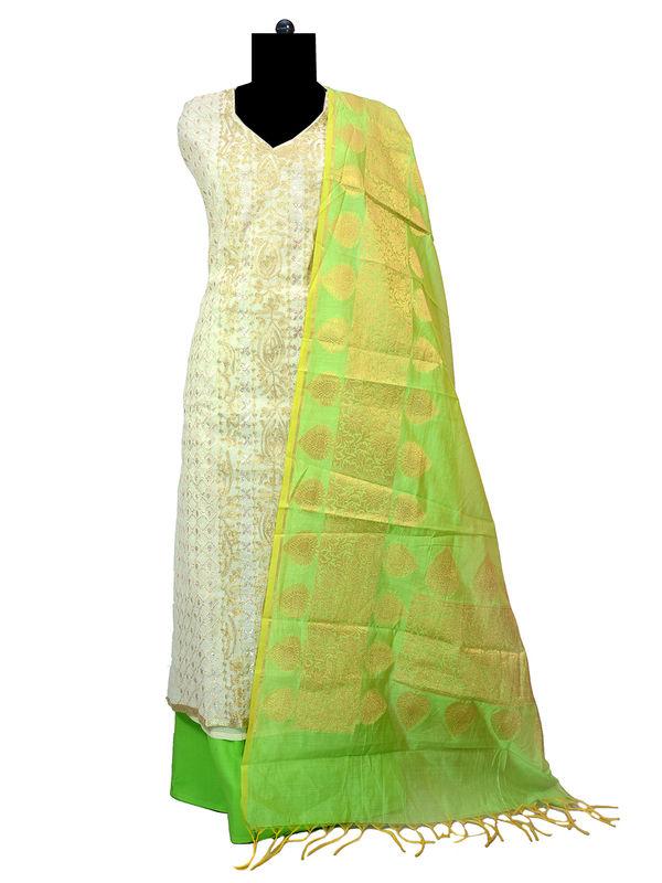 Banarsi Golden Green Embroidered Suit With Banarsi Dupatta