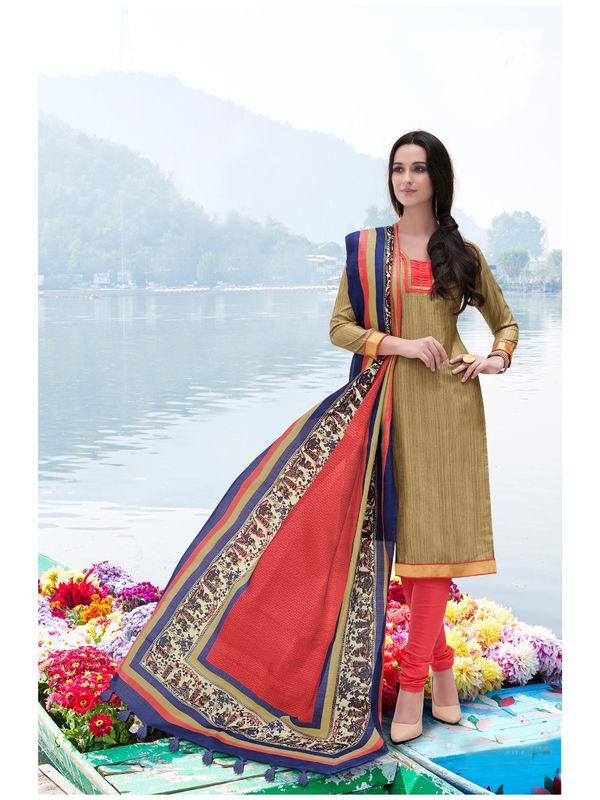 Beige Color Bhagalpuri Silk Suit With Bhagalpuri Dupatta