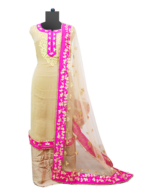 Beige Magenta Pure Georgette Gotta Patti Suit With Gotta Work Dupatta
